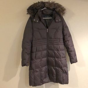 Nine West long puffer coat with faux fur hood